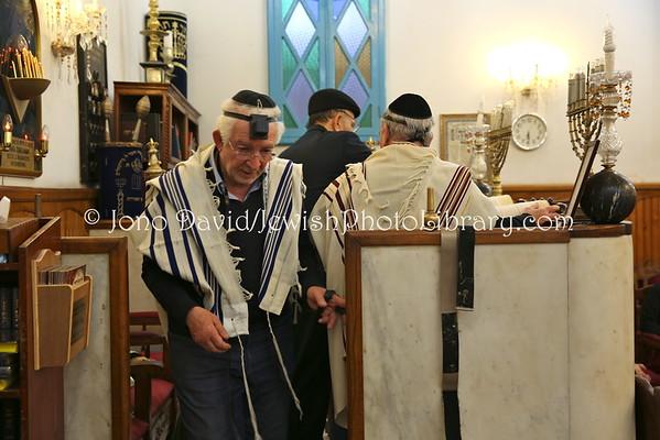 MOROCCO, Casablanca. Evening service (Ma'ariv), Benarrosh Synagogue (3.2015)