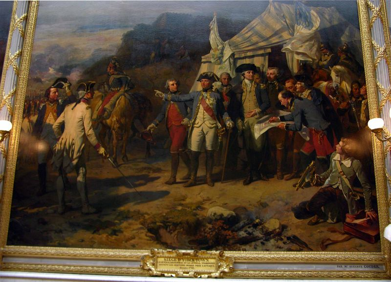 Painting of Lafayette and Washington at Palace of Versailles
