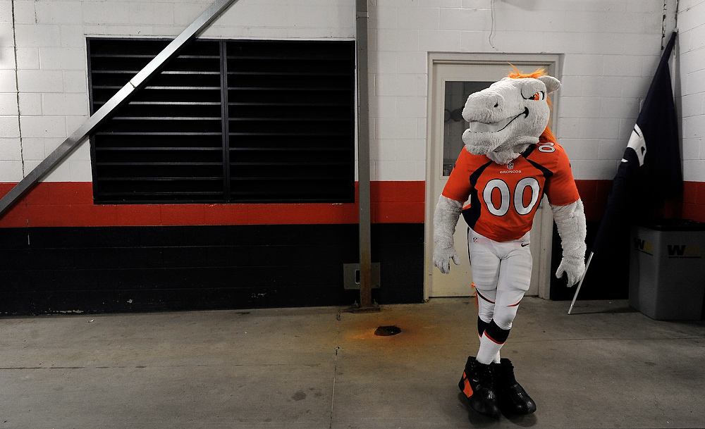 . Broncos mascot Miles prepares to take the field prior to the game against the Cleveland Browns at Sports Authority Field on Sunday December 23, 2012. John Leyba, The Denver Post