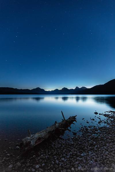 Stars over Lake McDonald before dawn, Glacier National Park