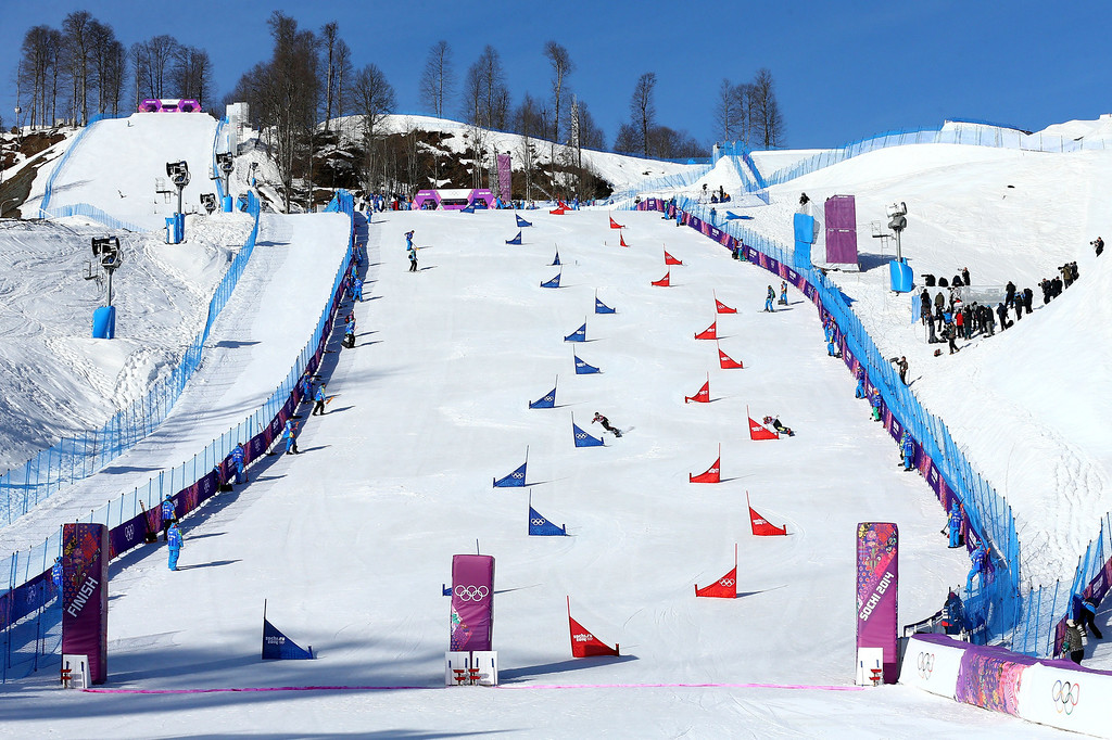 . SOCHI, RUSSIA - FEBRUARY 22: A general view in the Snowboard Parallel Slalom Qualification on day 15 of the 2014 Winter Olympics at Rosa Khutor Extreme Park on February 22, 2014 in Sochi, Russia.  (Photo by Cameron Spencer/Getty Images)