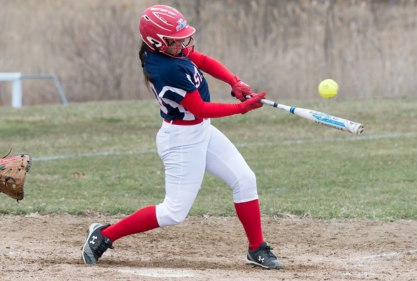 04/02/19 Wesley Bunnell | Staff St. Paul softball defeated Ansonia at home on Tuesday afternoon. Jessica Persechino (30).