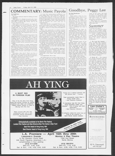 Daily Trojan, Vol. 100, No. 63, April 18, 1986