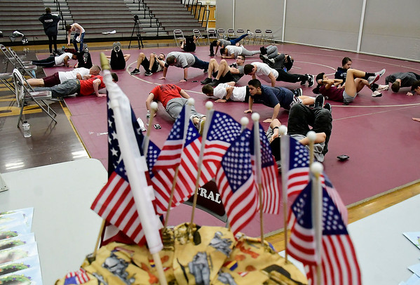 2/28/2020 Mike Orazzi | Staff The 6th annual Pushups for Patriots held at Bristol Central High School on Friday as a fundraiser for the Semper Fi Fund, which helps veterans re-integrate into civilian life after their service.