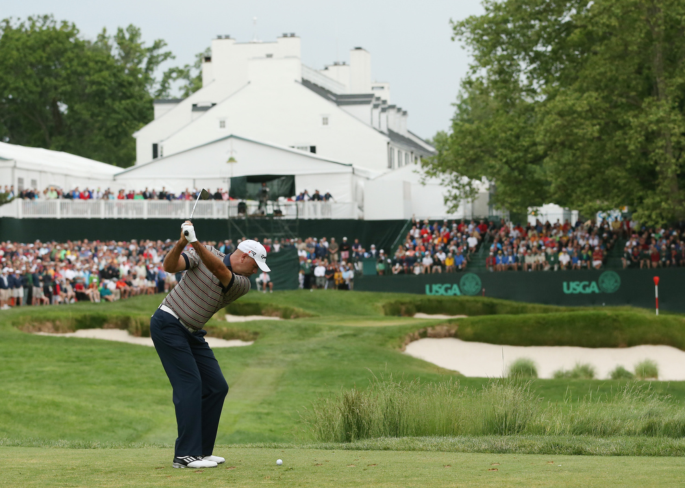 . Stewart Cink of the United States hits his tee shot on the 13th hole during Round One of the 113th U.S. Open at Merion Golf Club on June 13, 2013 in Ardmore, Pennsylvania.  (Photo by Andrew Redington/Getty Images)