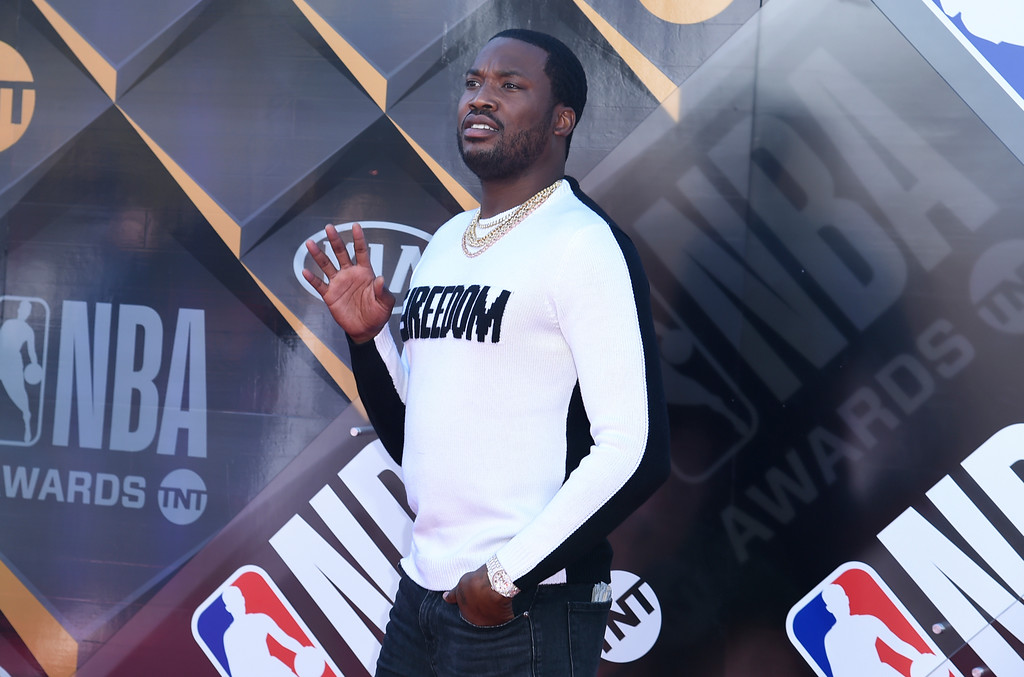 . Meek Mill arrives at the NBA Awards on Monday, June 25, 2018, at the Barker Hangar in Santa Monica, Calif. (Photo by Richard Shotwell/Invision/AP)