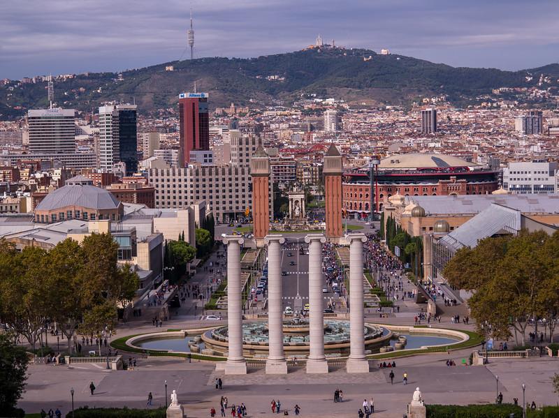 Barcelona, Placa D Espanya, view from Museum National d art de catalonia.