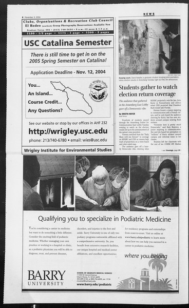 Daily Trojan, Vol. 153, No. 50, November 03, 2004