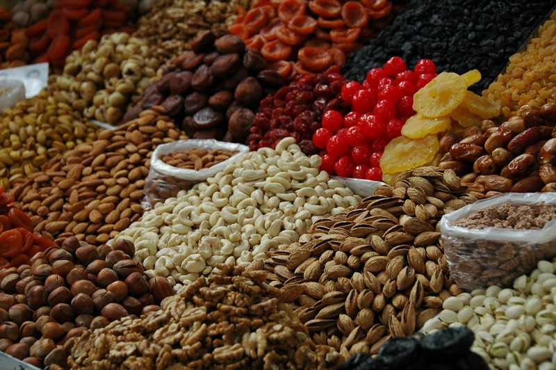 Nuts, Dried Fruit and Candied Fruit at Zelyony Bazaar - Almaty, Kazakhstan