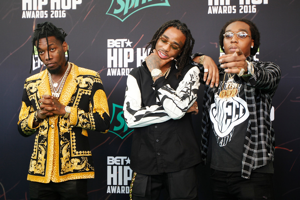 . Hip Hop band Migos on the green carpet for the BET Hip Hop Awards in Atlanta, Saturday, Sept. 17, 2016. Migos will be at Blossom Music Center with Future and Tory Lanze on May 27. For more information, visit livenation.com/events/647853-may-27-2017-future-nobody-safe-tour. (AP Photo/Tami Chappell)
