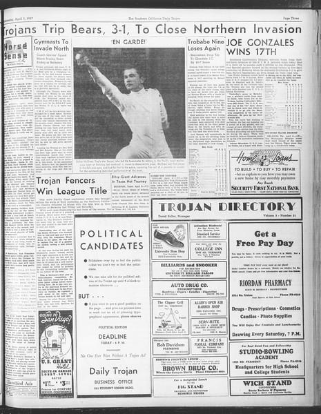 Daily Trojan, Vol. 28, No. 110, April 07, 1937
