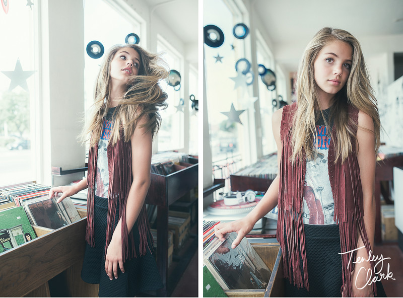Musician themed teen/tween fashion editorial at a record store for Halcyon Magazine by Tenley Clark Photography