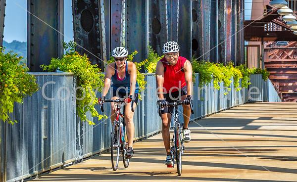 Biker(s) on President Clinton Rock Island Bridge -- Adventure Cycling's South Loop