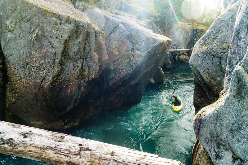 Ben Mckenzie floats through a scenic gorge on the Cheakamus River near Whistler, BC.