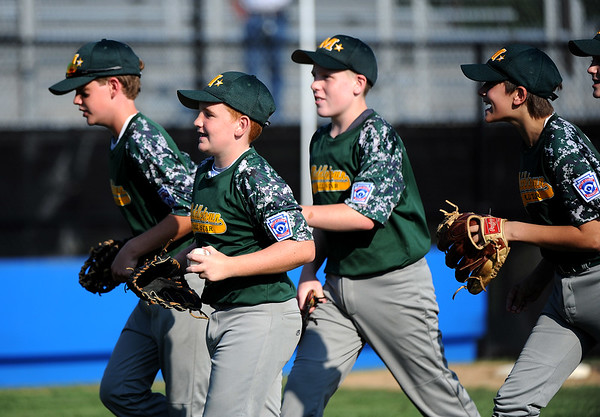 8/6/2018 Mike Orazzi | Staff Middletown New Jersey Little League after a win over Maryland at Breen Field in Bristol during the 2018 Little League Eastern Regional Tournament.