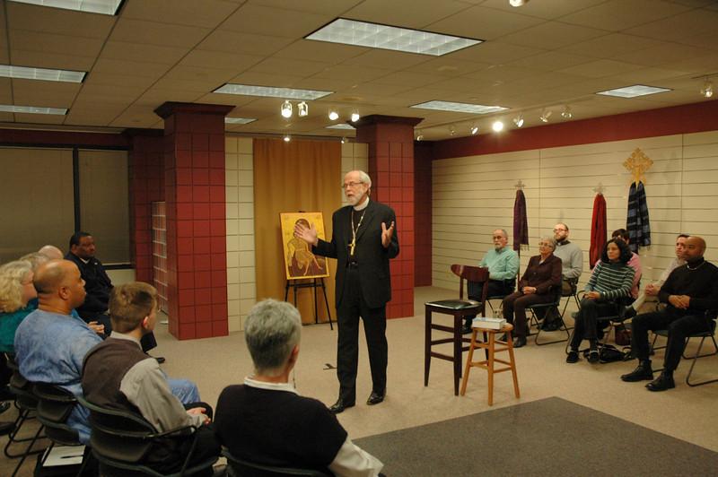 Presiding Bishop Mark S. Hanson responding to a question.