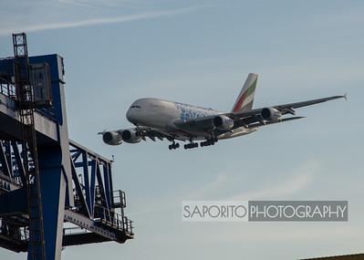 Emirates A380 landing 4R BOS - Expo 2020
