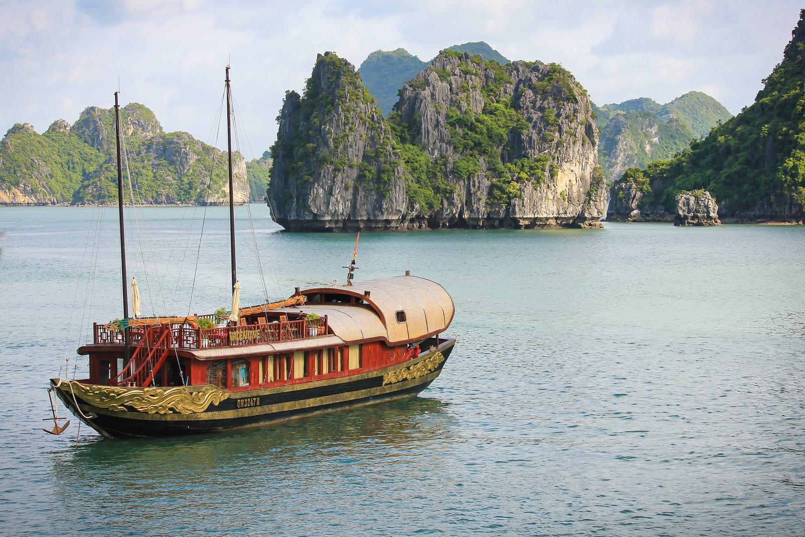 Navigating through Halong Bay