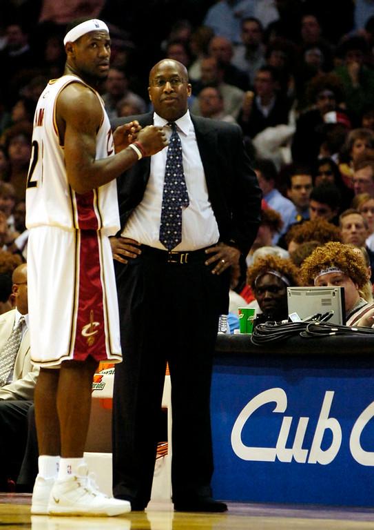 . Ken Blaze/KBlaze@News-Herald.com LeBron James, Mike Brown