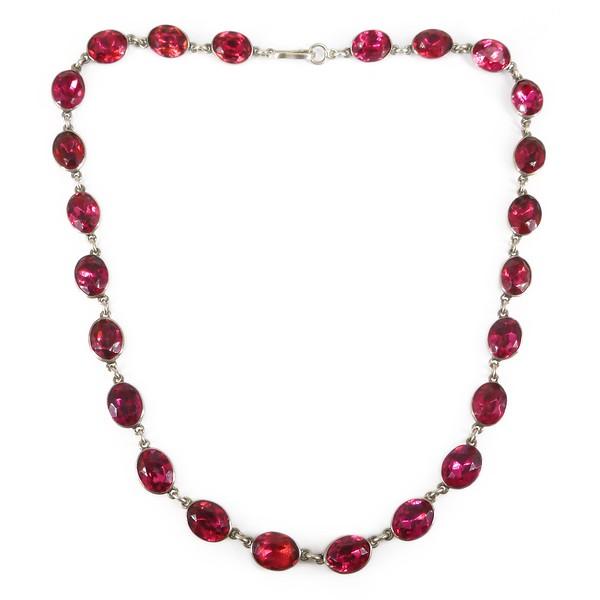 Antique Georgian Silver Pink Paste Glass Rivière Necklace