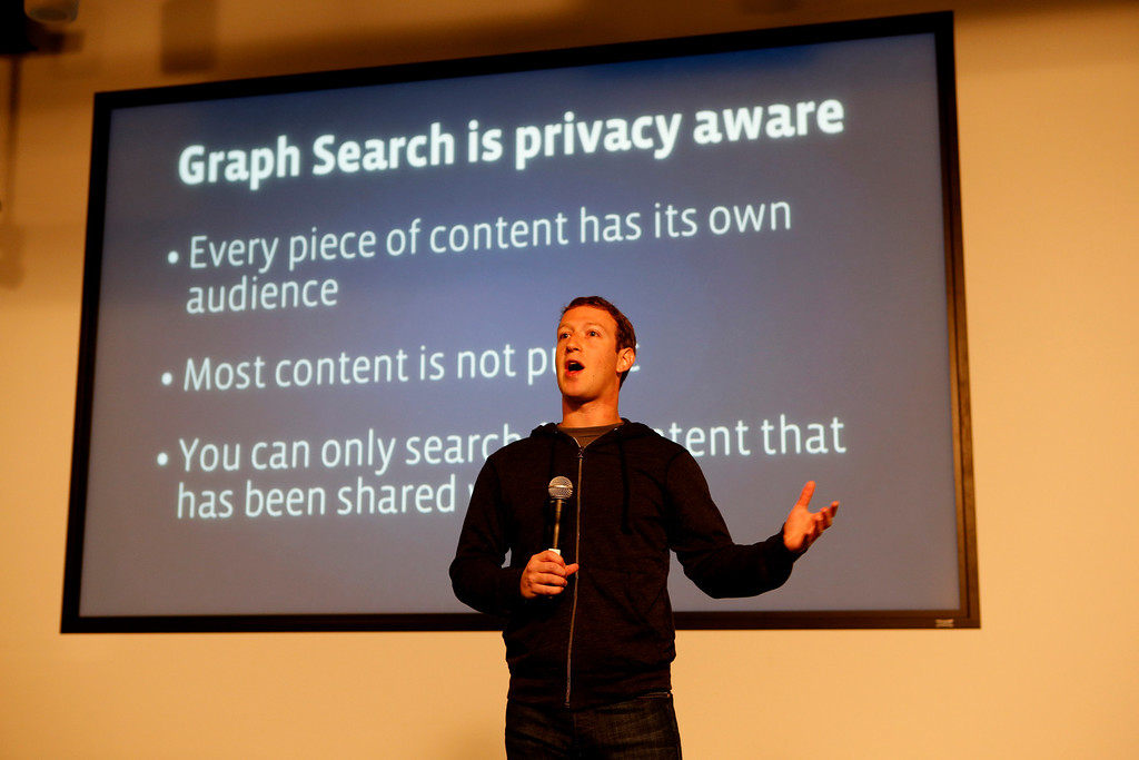 ". Mark Zuckerberg announces Graph Search during a press conference at Facebook in Menlo Park, Calif., on Tuesday, Jan. 15, 2013 The new search tool will show only information that has been posted publicly or shared with the person who is doing the search, according to Zuckerberg, who acknowledged privacy concerns while calling the new service ""one of the coolest things we\'ve done in a while.\"".