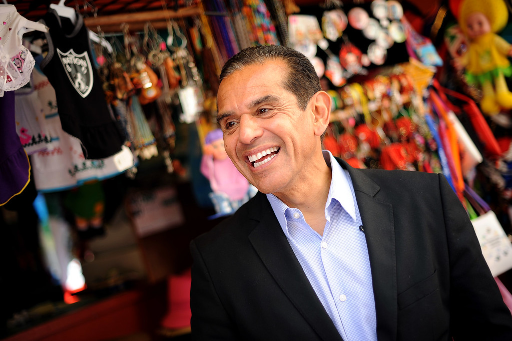 . Mayor Antonio Villaraigosa lets out a smile while visiting Olvera Street in Los Angeles, CA June 28, 2013.  Villaraigosa spent the day visiting some of his favorite loactions during his 24-hour goodbye tour.(Andy Holzman/Los Angeles Daily News)