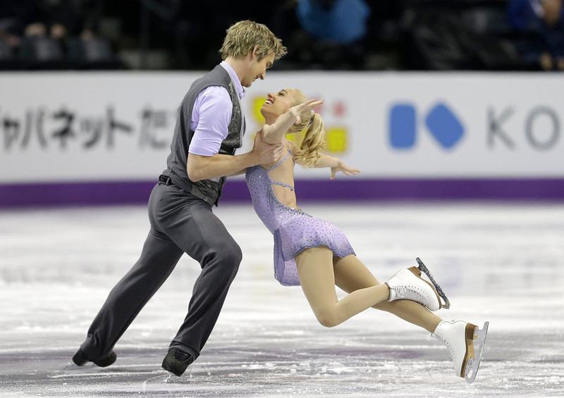 . Stacey Kemp and David King, of Great Britain,  perform during the pairs short program at the World Figure Skating Championships Wednesday, March 13, 2013, in London, Ontario.   (AP Photo/Darron Cummings)