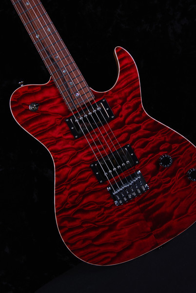 Bent Top, Double Stain Red, HH Pickups