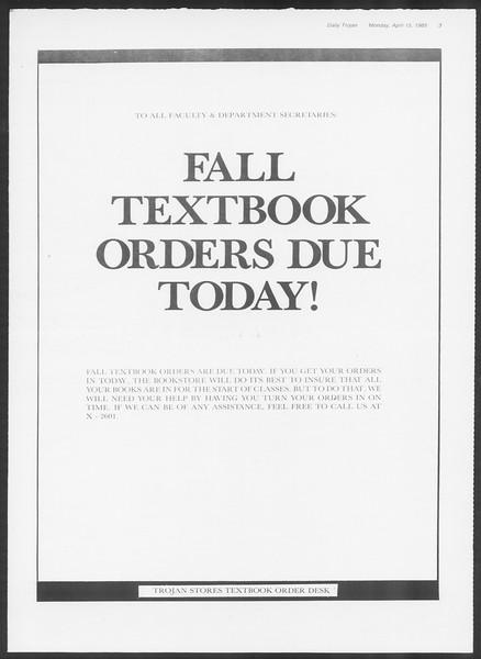 Daily Trojan, Vol. 98, No. 59, April 15, 1985