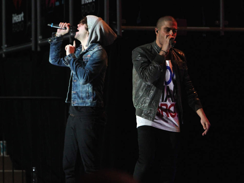 . Jay McGuiness and  Max George of The Wanted perform onstage during Z100\'s Jingle Ball 2012, presented by Aeropostale, at Madison Square Garden on December 7, 2012 in New York City.  (Photo by Kevin Kane/Getty Images for Jingle Ball 2012)