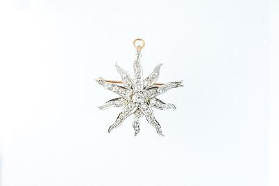 Victorian Sunburst Gold and Old Cut Diamond Pin/Pendant