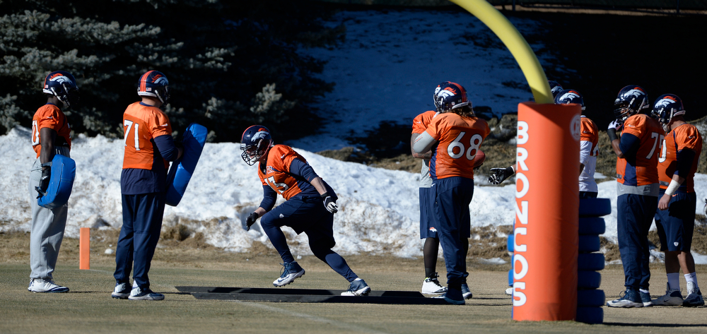 . The Denver Broncos offensive lineman during practice at Dove Valley Saturday morning, January 25, 2014. (Photo By Andy Cross / The Denver Post)