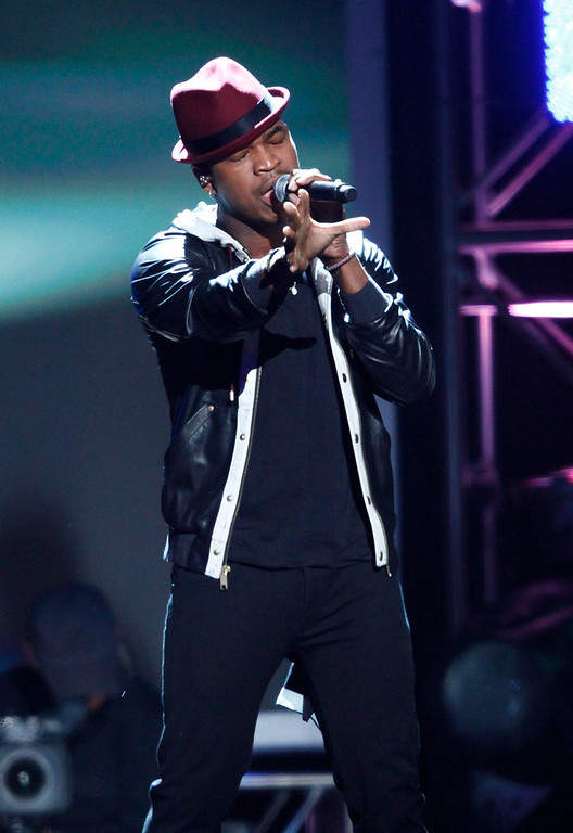""". Ne-Yo performs \""""Let Me Love You\"""" at the Grammy Nominations Concert Live! at Bridgestone Arena on Wednesday, Dec. 5, 2012, in Nashville, Tenn. (Photo by Wade Payne/Invision/AP)"""