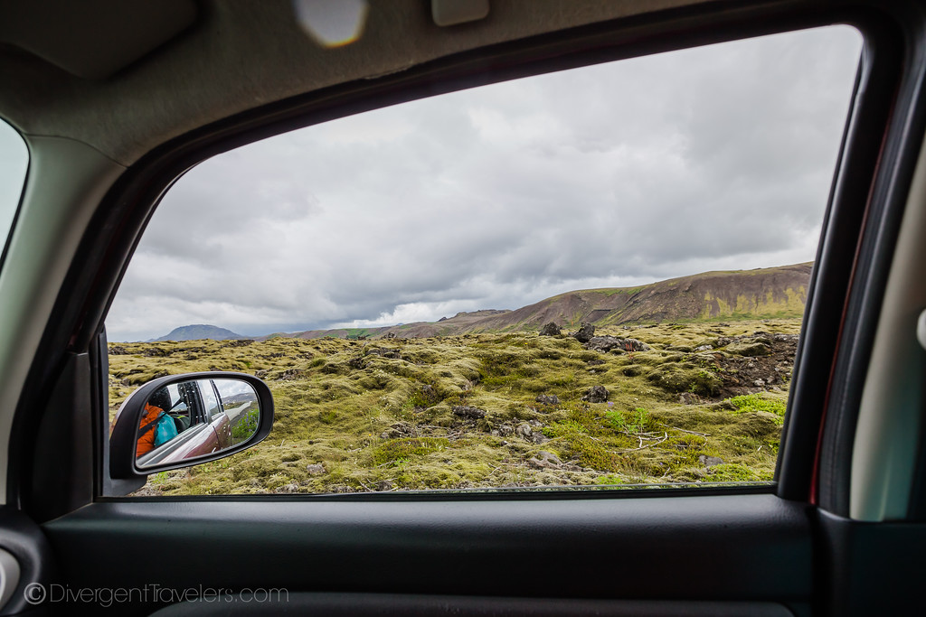 Car window view of Iceland landscape