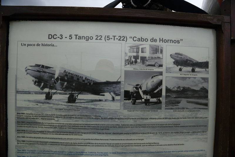 "DC-3 Tango 22 history ""Cabo de Hornos"" in the field at the old airport in Ushuaia"