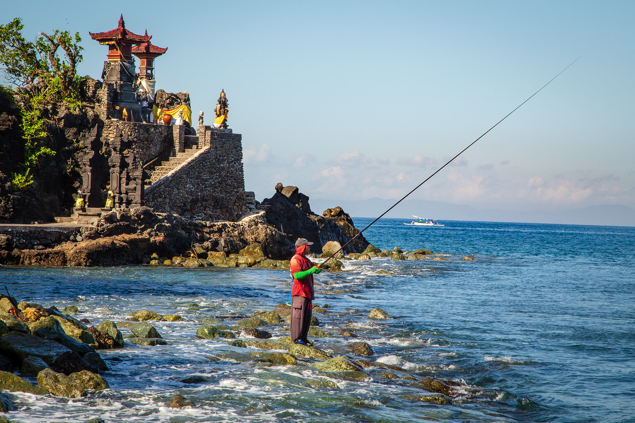 Fisherman at Batu Bolong Temple