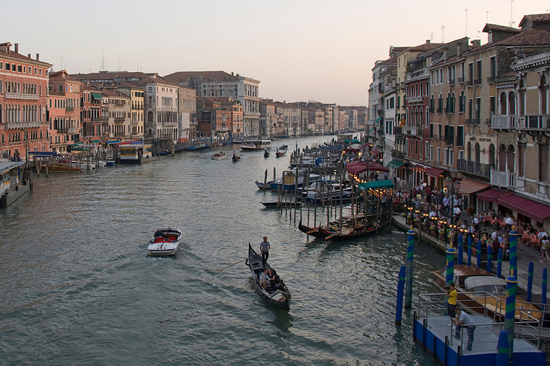 View of Venice's Grand Canal during sunset - Italy