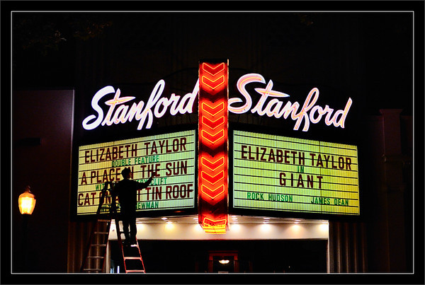 Marquee Memorial: Elizabeth Taylor  The Stanford Theatre celebrates some of Elizabeth Taylor's classic Hollywood hits after her recent passing.  The theater opened in 1925 and now specializes in classic films.  15-APR-2011