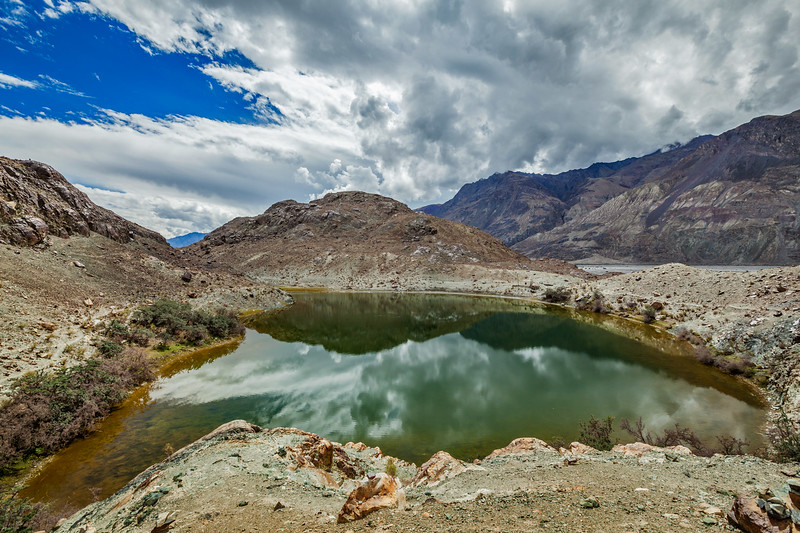 Sacred lake Lohan Tso in Himalayas. Nubra valley, Ladakh, India