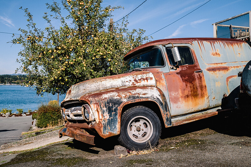 A dilapidated vehicle next to an apple tree in Anacortes, Washington. We sent the night in Anacortes before taking the ferry the next day for Lopez Island where we only lasted one night due to rain and boredom.