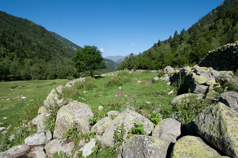 Stone fences near the bordes in Andorra
