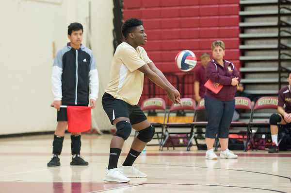 04/22/19 Wesley Bunnell | Staff New Britain volleyball was defeated by South Windsor at home on Monday evening. Jerry Chungong (1).