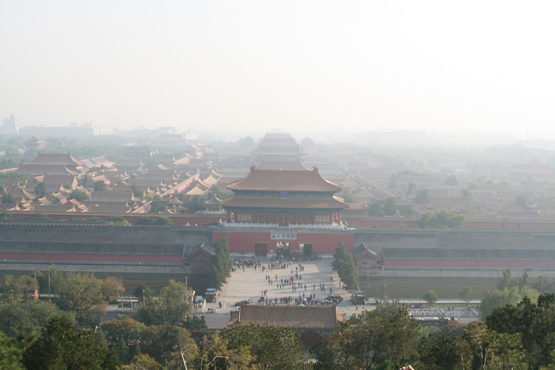 This is the forbidden city as seen from prospect hill. this is probably a quarter of a mile from the forbidden city.