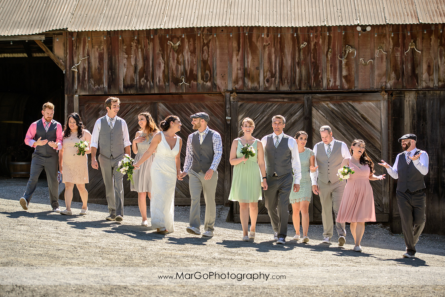 bridal party walking at Picchetti Winery in Cupertino