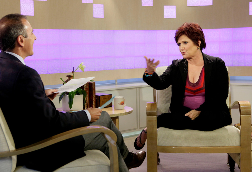 """. Actress and writer Carrie Fisher  is interviewed by NBC \""""Today\"""" television program co-host Matt Lauer in New York Tuesday, Sept. 29, 2009 about \""""Wishful Drinking,\"""" her autobiographical solo show on Broadway. (AP Photo/Richard Drew)"""