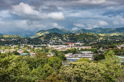View of rural Puerto Rican town in the valley