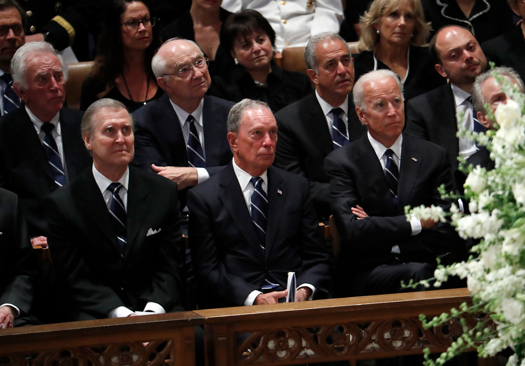 . Front from left, former Defense Secretary William Cohen, former New York Mayor Michael Bloomberg and former Vice President Joe Biden listen during a memorial service for Sen. John McCain, R-Ariz., at Washington National Cathedral in Washington, Saturday, Sept. 1, 2018. McCain died Aug. 25, from brain cancer at age 81. Back row, second from right is former Texas Senator Phil Gramm and third from left is former Wisconsin Sen. Russ Feingold. (AP Photo/Pablo Martinez Monsivais)