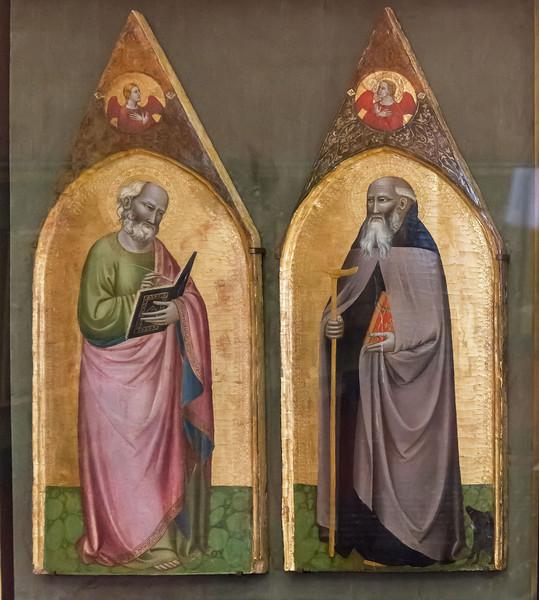 Pietro Nelli: Johannes der Evangelist und  Hl. Antonius Abbas [Um 1360-1365, Lindenau-Museum Altenburg]