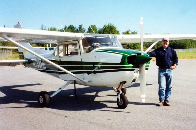 Cessna 172N Skyhawk [1977] N738HE Hancock County Airport, Trenton, Maine - September 2004  I just couldn't stand it on the ground anymore, especially on such a fine fall day as this was, so I forked over the $45 to take one of the flight tours around Mt Desert Island, home of Acadia National Park. After the pilot learned I had flying experience, he turned over the controls and let me do most of the flying. Now that was $45 well spent in my book any day.