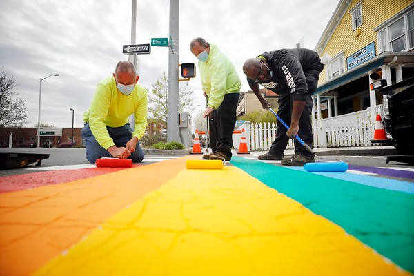 Great Barrington Paints Rainbow Crosswalks-050620